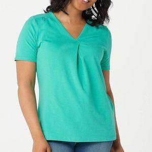 L Denim & Co. Perfect Jersey V Neck T Shirt Top